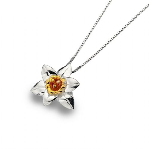Daffodil Pendant Sterling Silver 925 Hallmarked Gold Detail All Chain Lengths